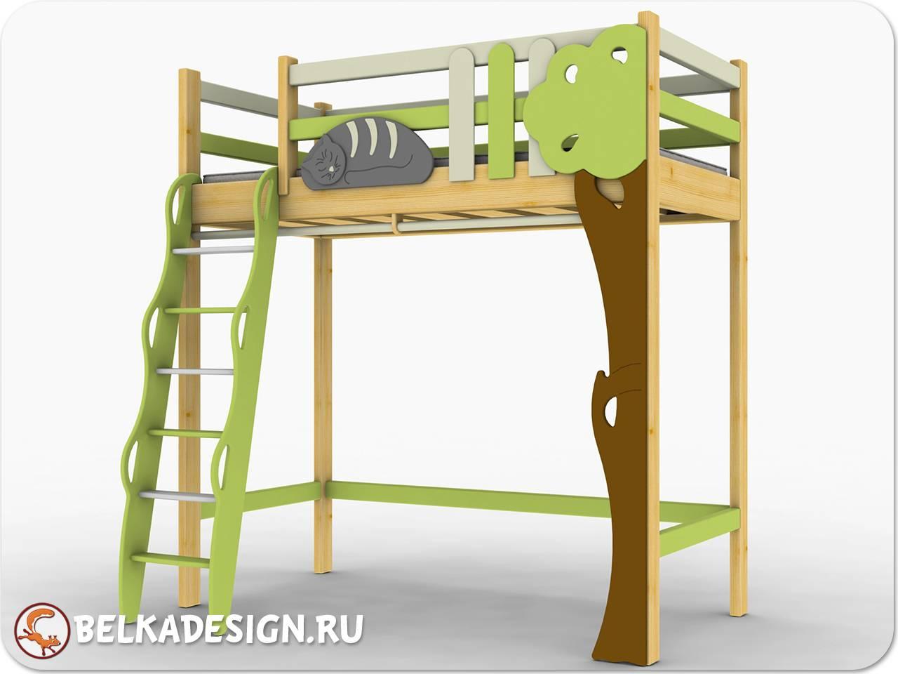 Кровать чердак ученый кот