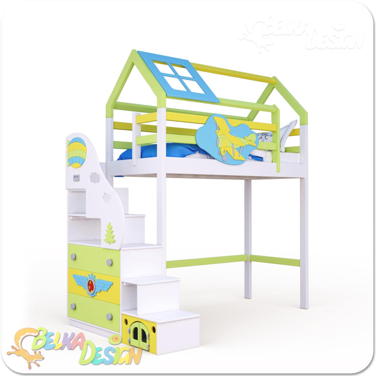 Кровать домик с лестницей