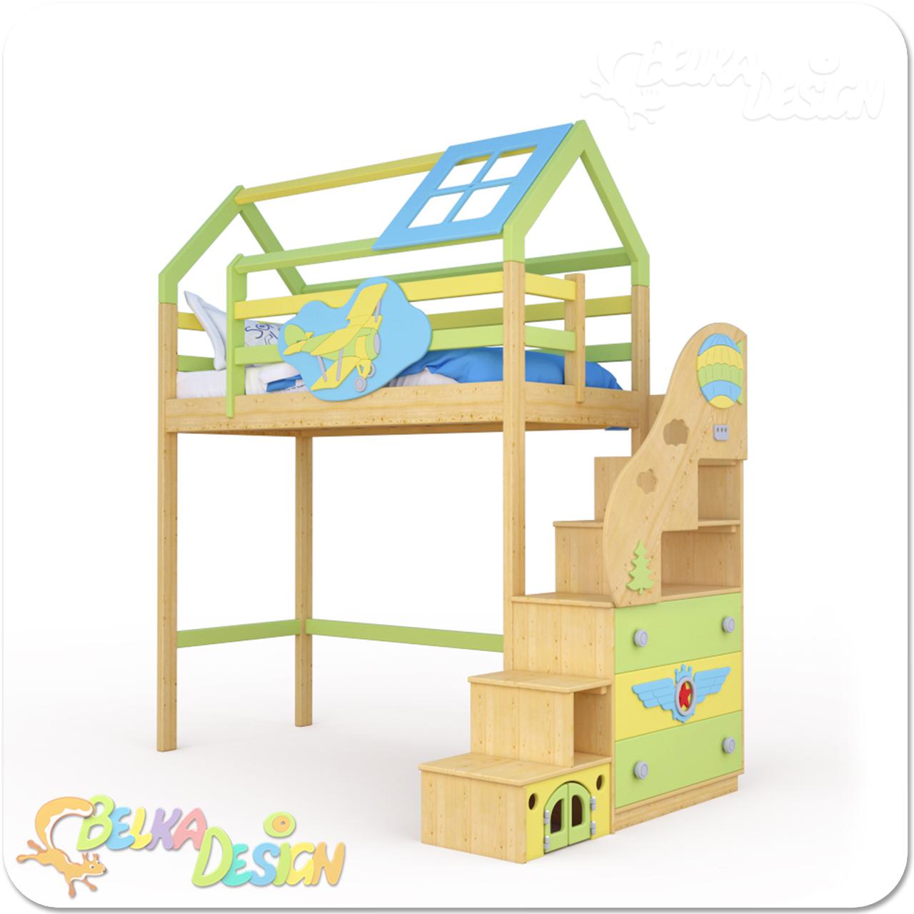 Кровать-домик с лестницей