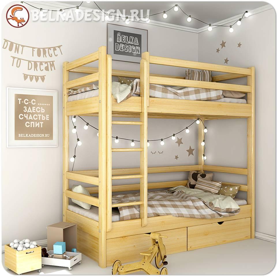 Кровать двухъярусная с ящиками 0011