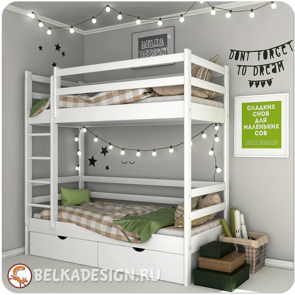 Кровать двухъярусная с ящиками 0016