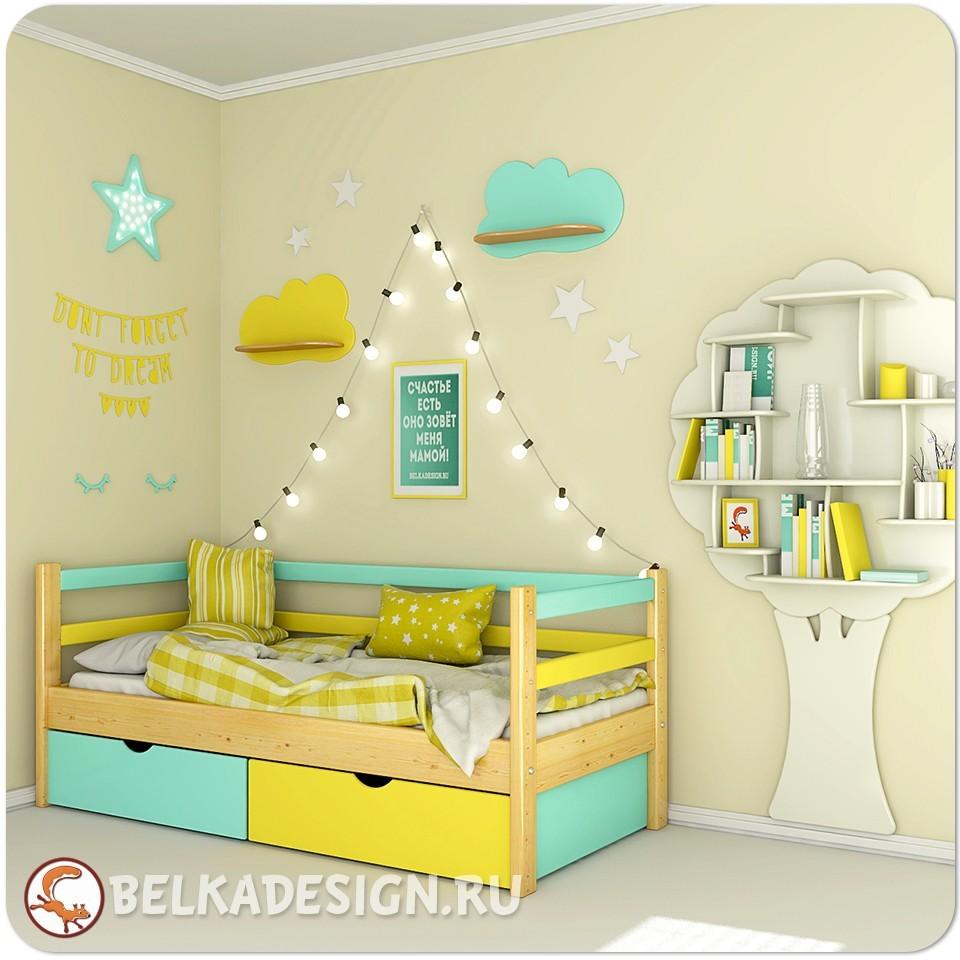 Кровать низкая с ящиками 2