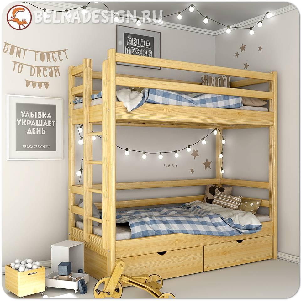 Кровать двухъярусная с ящиками 0012