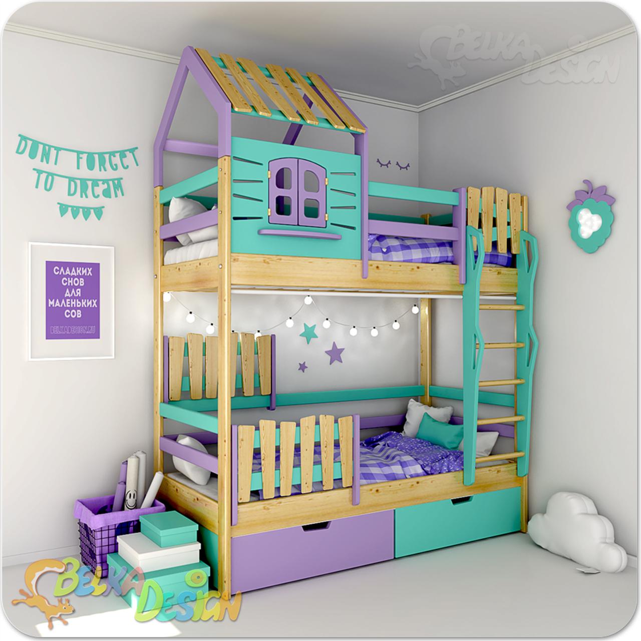Кровать домик двухъярусная Кантри С
