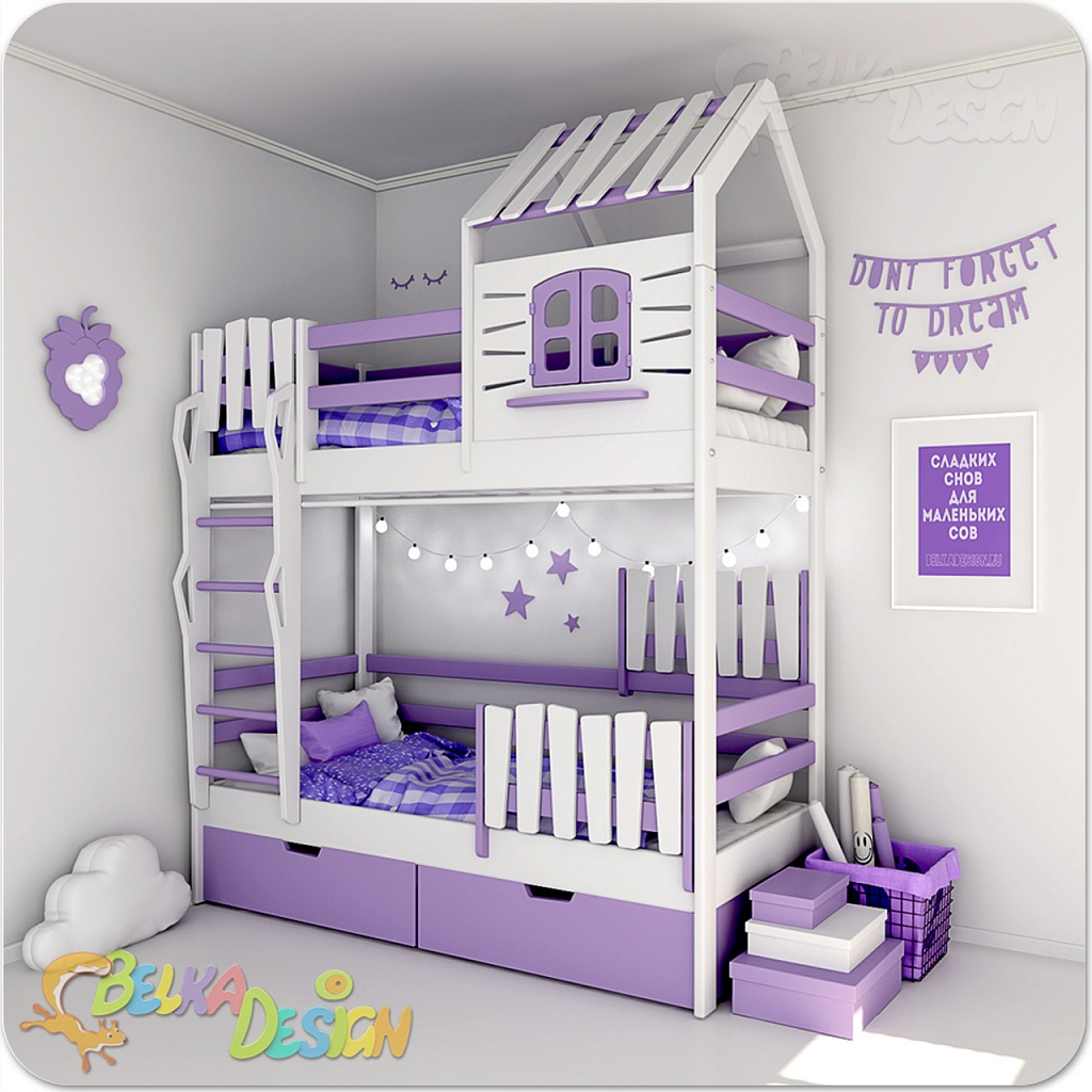 Кровать домик двухъярусная Кантри Э