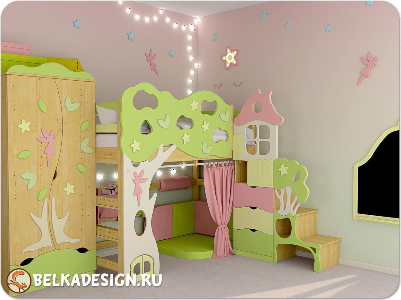 Кровать-чердак Лесная Фея
