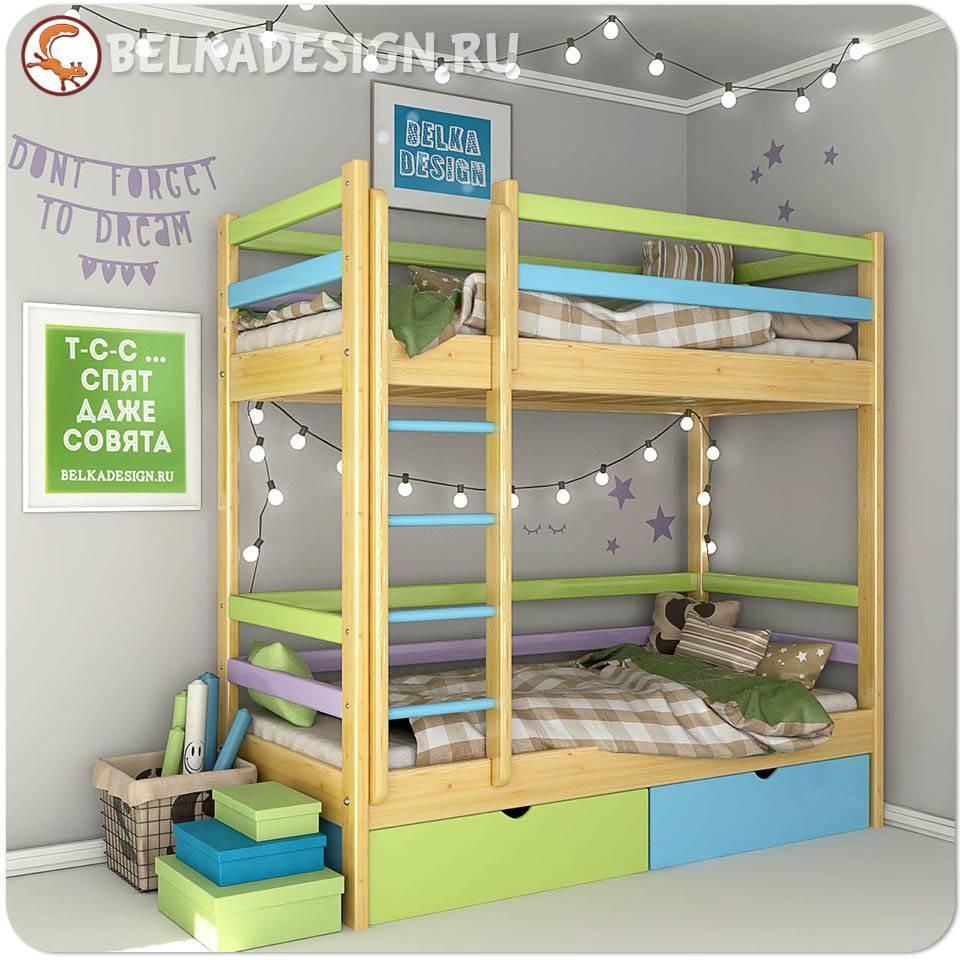 Кровать двухъярусная с ящиками 0013