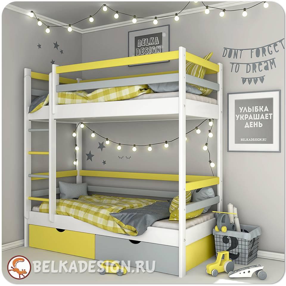 Кровать двухъярусная с ящиками 0018