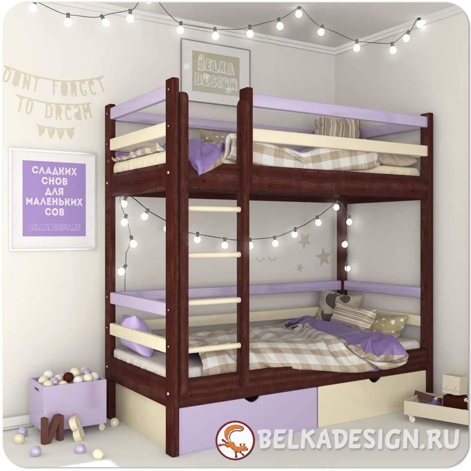 Кровать двухъярусная с ящиками 0014