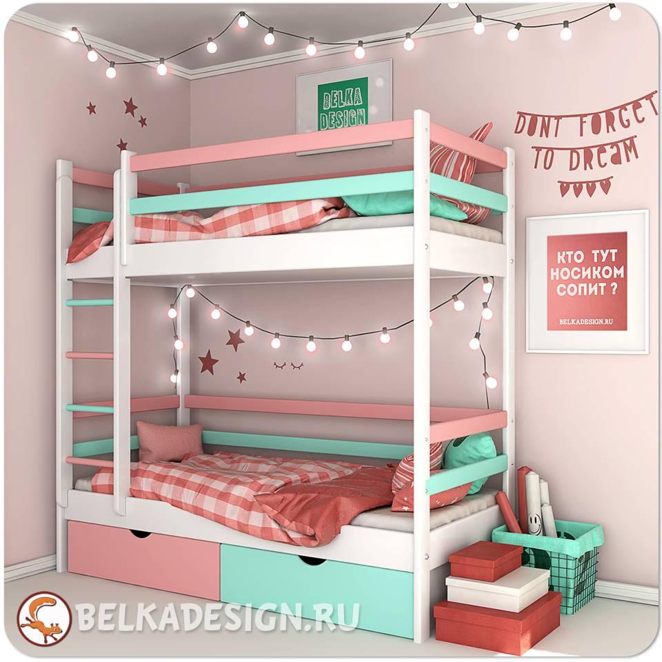 Кровать двухъярусная с ящиками 0019