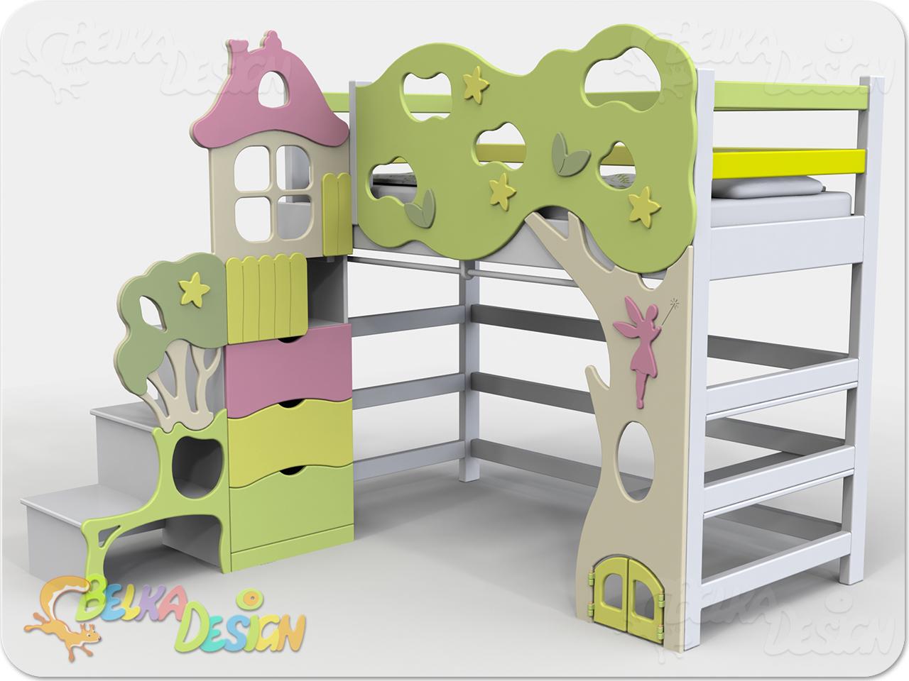 Кровать чердак Лесная Фея