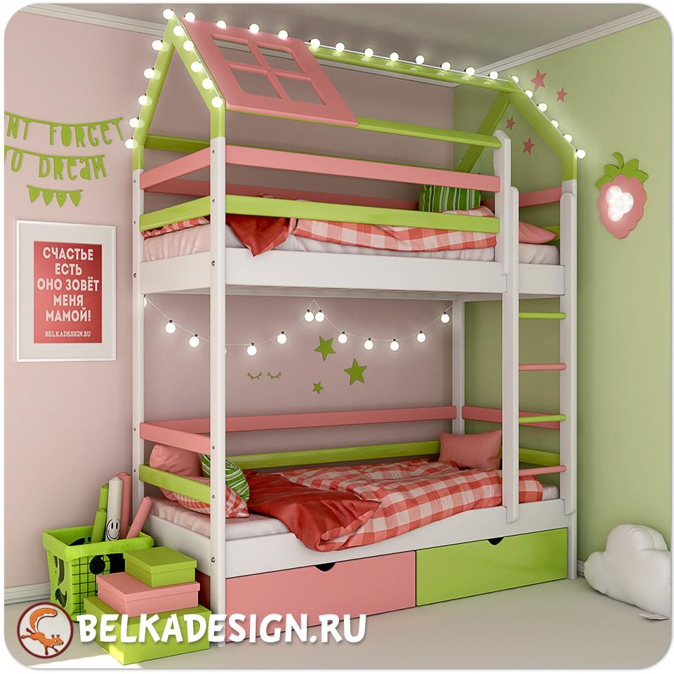 Двухъярусная домик кровать