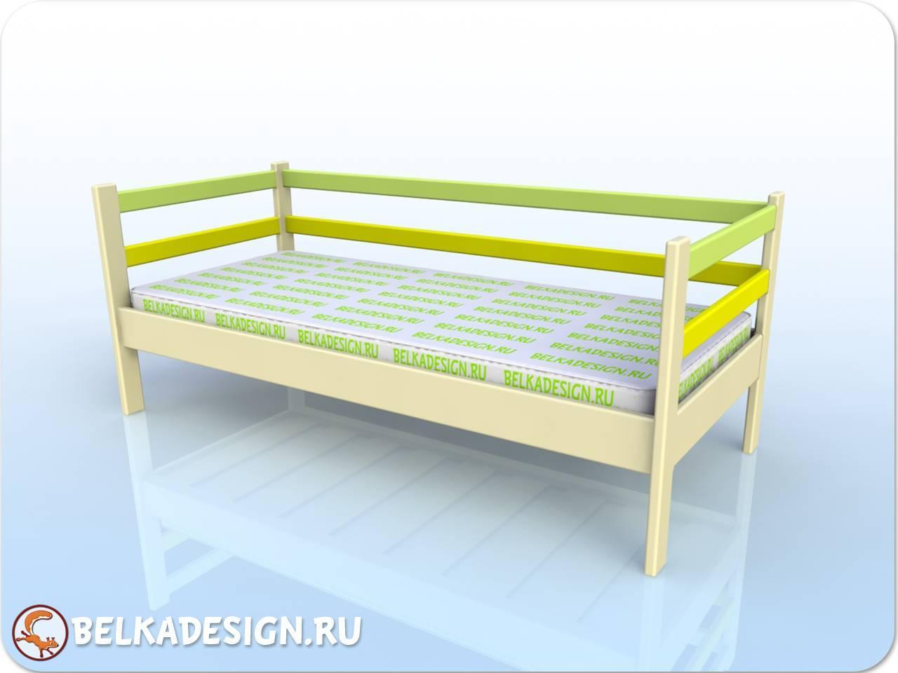 Кровать низкая без ящиков - эмаль