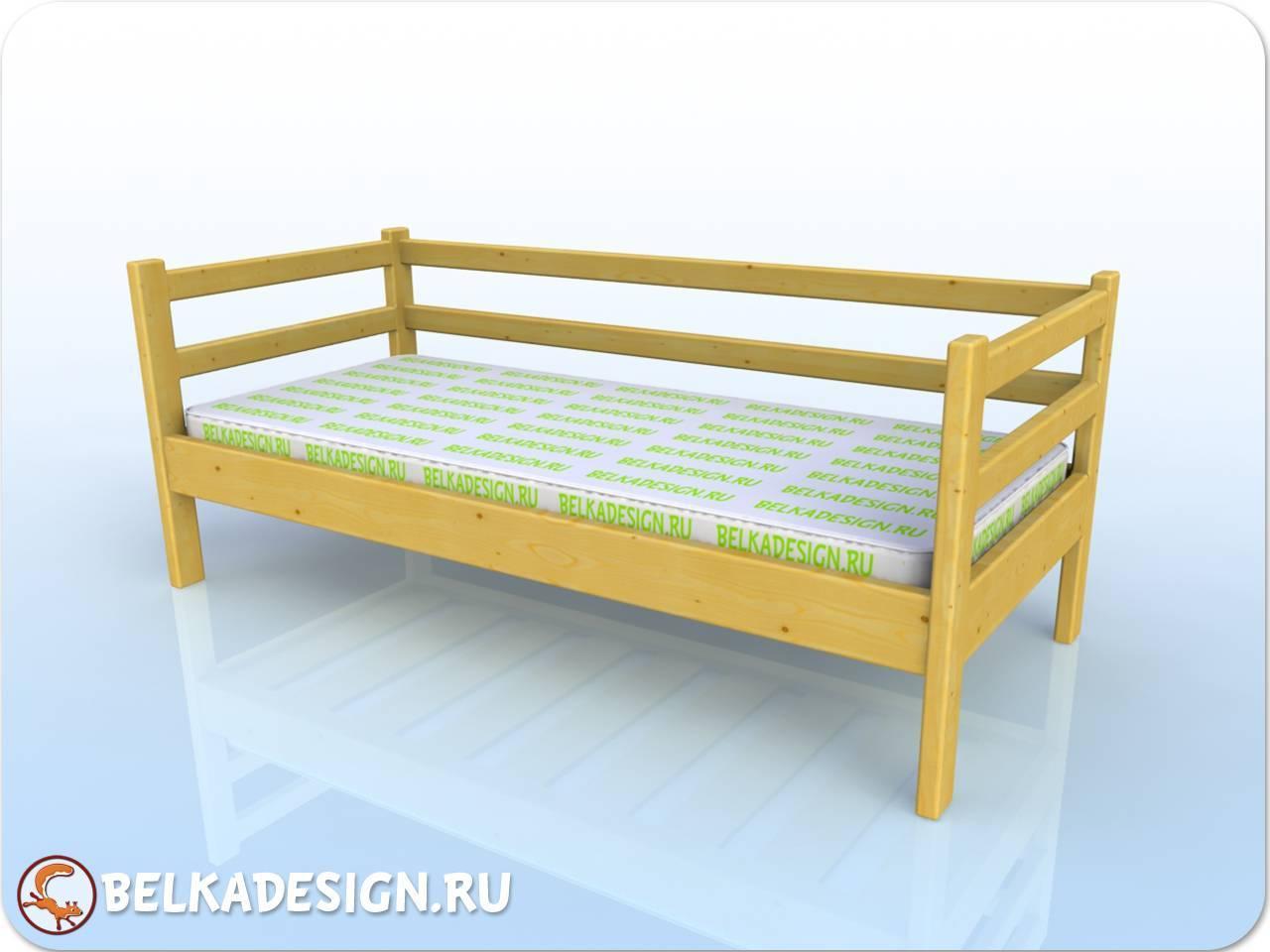 Кровать низкая без ящиков - сосна