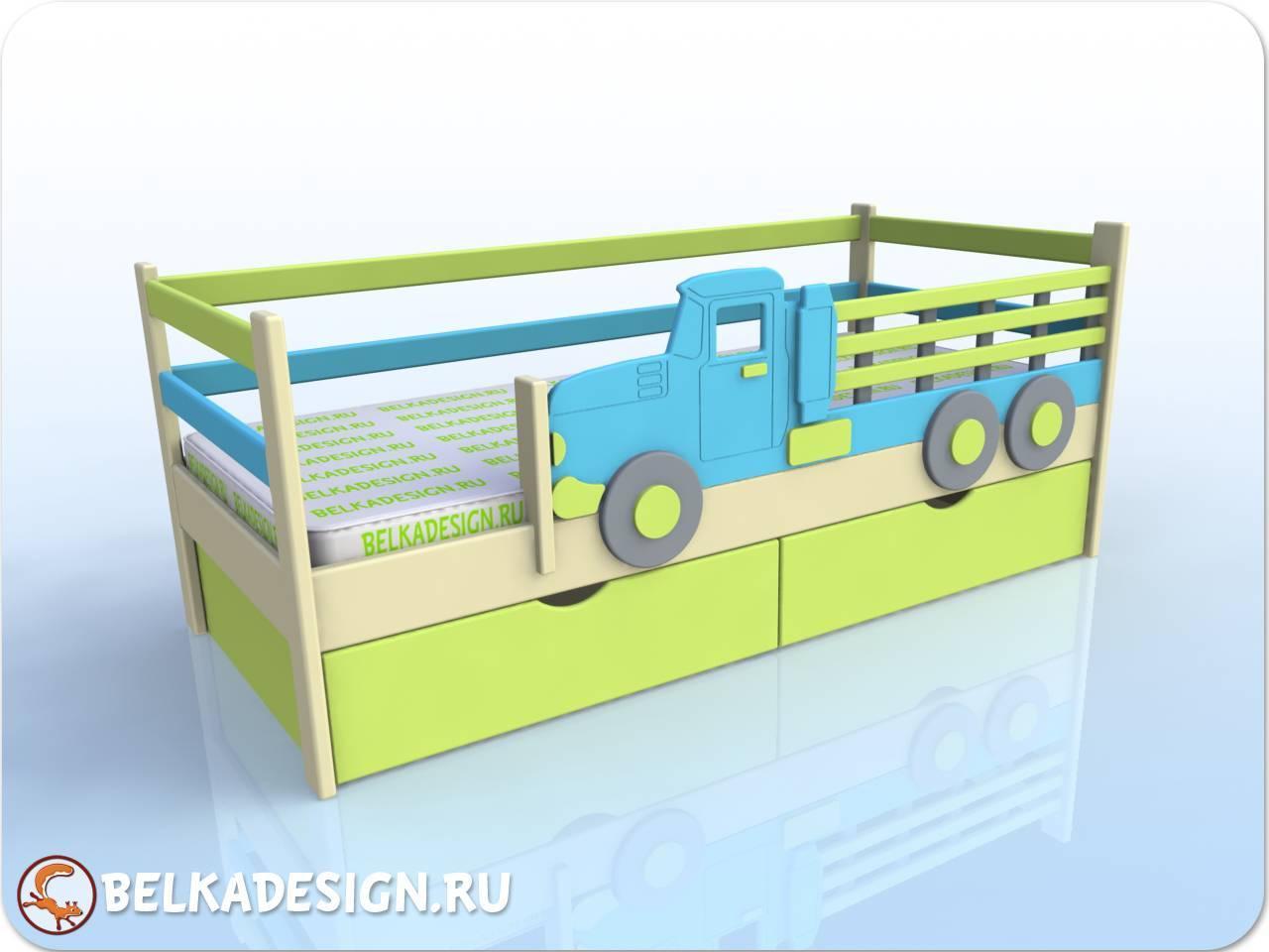 Кровать низкая с машиной - эмаль