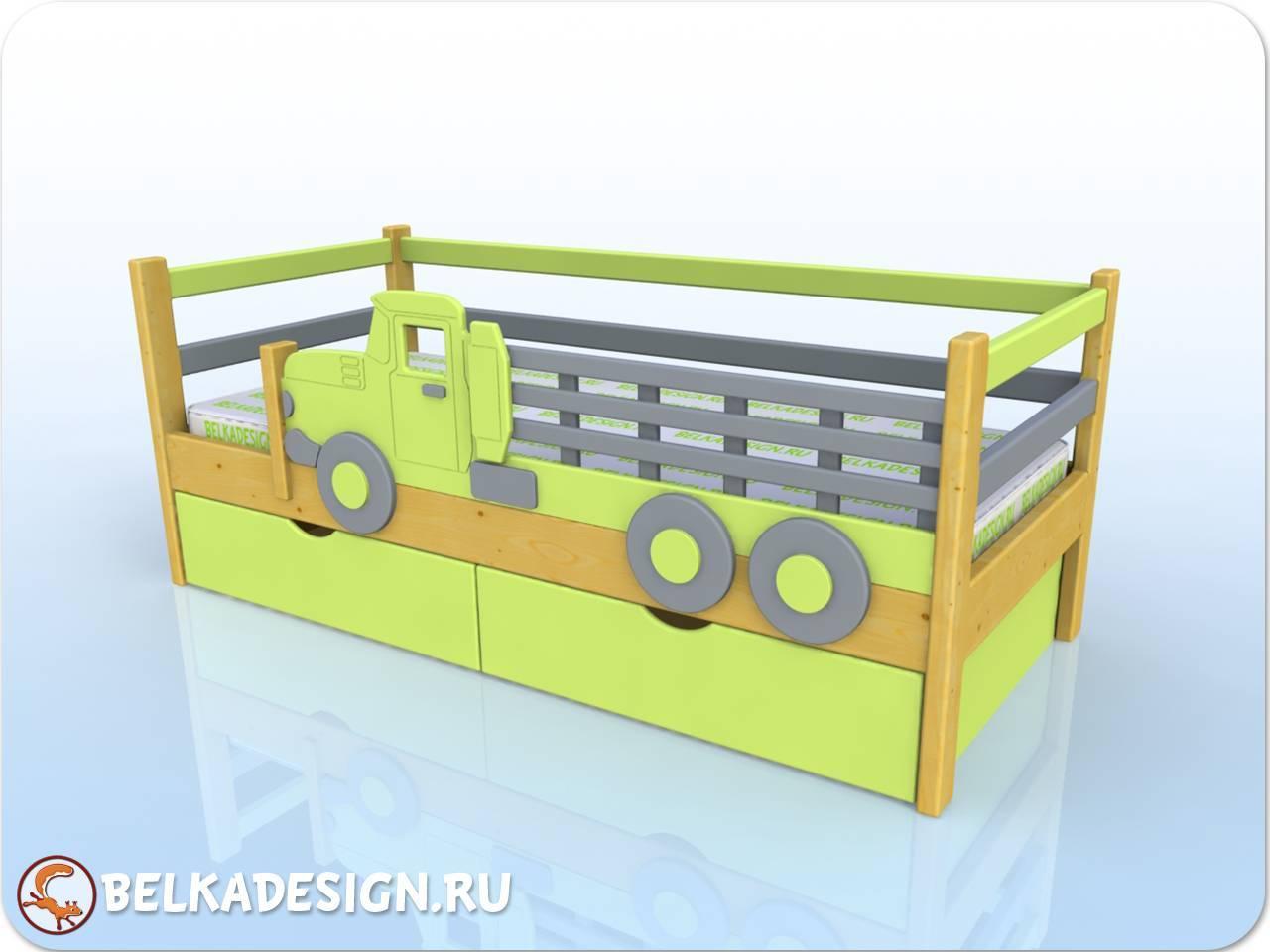 Кровать низкая с машиной - сосна